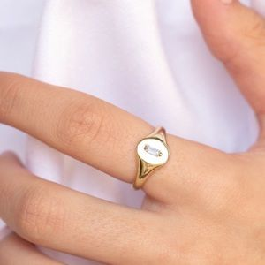 18K Gold Plated 925 Silver Signet Ring